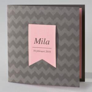 Geboortekaart bruine zigzag met roze tag