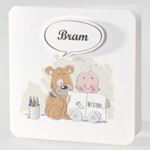 Geboortekaartje baby met beer