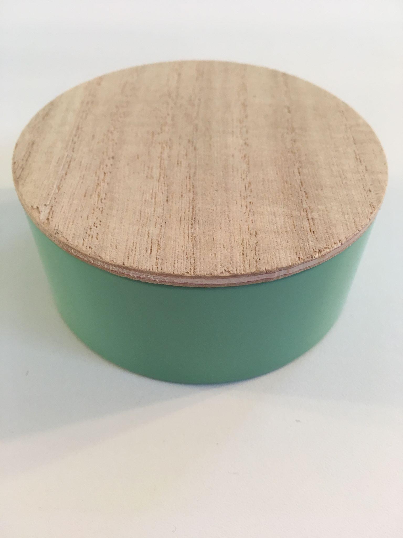 Blikken potje muntgroen met houten deksel