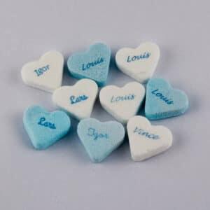 Blauw-witte hartjes bedrukt